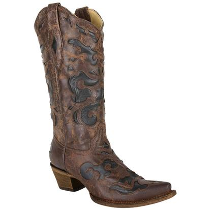 Corral Womens Vintage Chocolate Brown with Black Inlays Cowgirl Boots