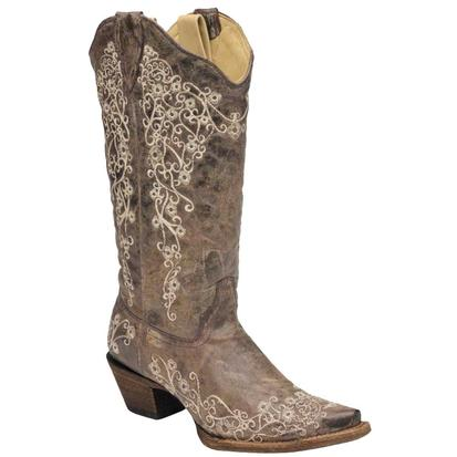Corral Women's Distressed Bone Embroidery Snip Toe Cowgirl Boots