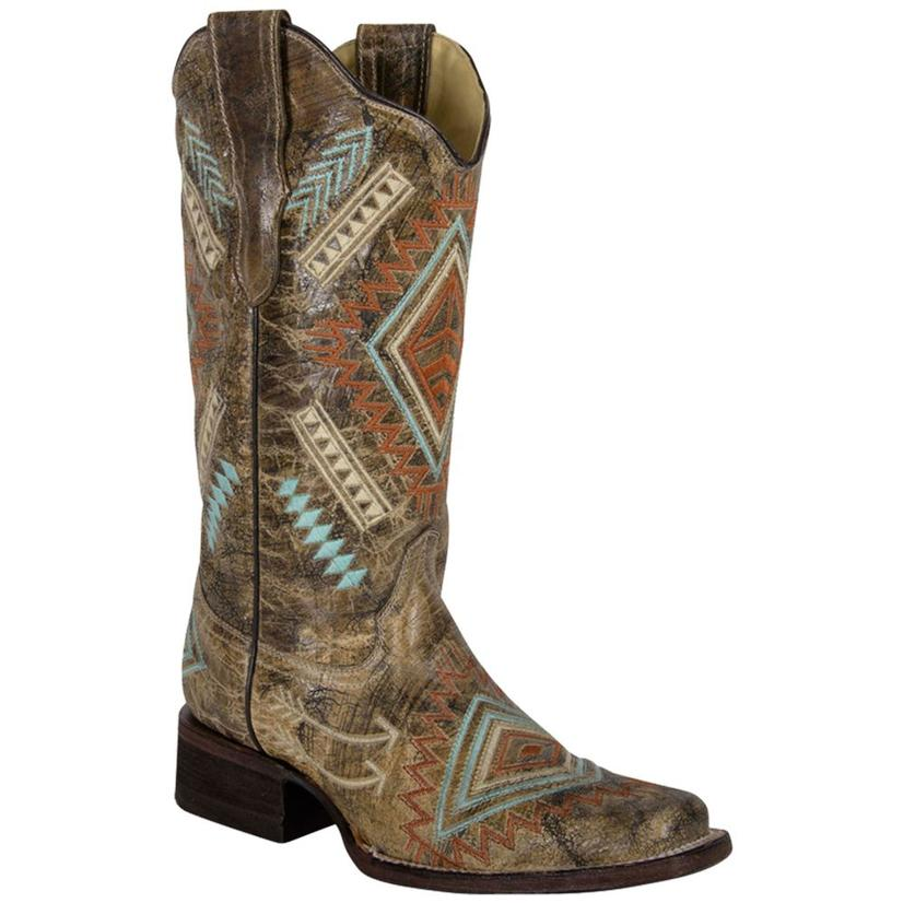 Corral Womens Multicolored Aztec Diamond Free Spirit Cowgirl Boots - Square Toe