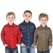 Wrangler 20X Boys Long Sleeve Solid Boys Western Shirts