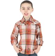 Wrangler Boys Orange Plaid Buttondown Shirt