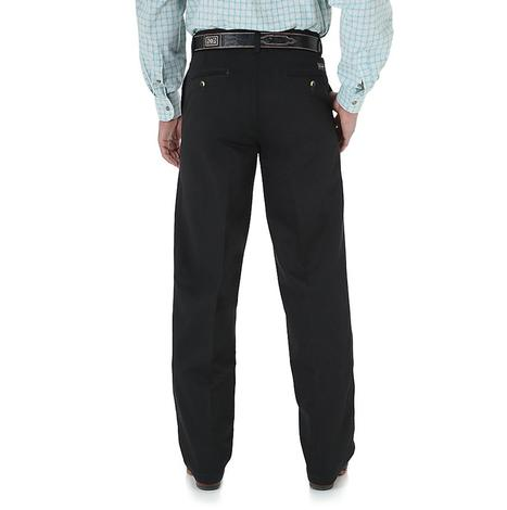 Wrangler Mens Riata Flat Front Casual Relaxed Fit Pants - Black (Extended Length)