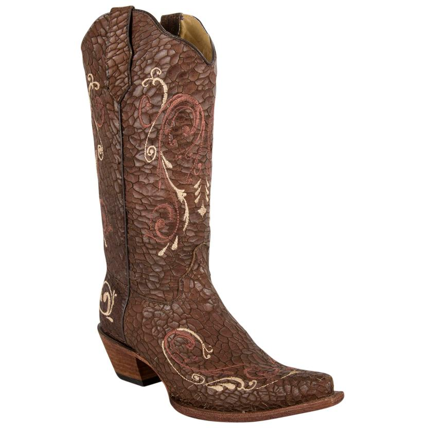 Corral Womens Crackle Leather Snip Toe Boots