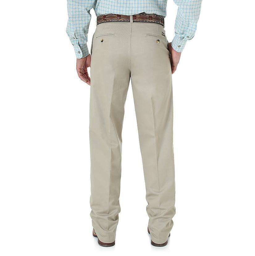 Wrangler Mens Riata Flat Front Relaxed Fit Pants - Khaki (Extended Length)