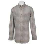 Wrangler Men's 20X L/S Brown and Blue Plaid Western Shirt