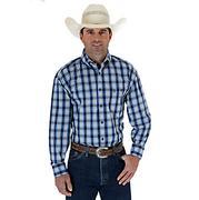 Wrangler Mens George Strait Plaid Long Sleeve Shirt