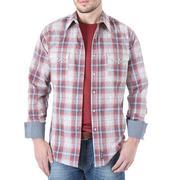Wrangler Men's Retro Blue And Rust Plaid Western Shirt