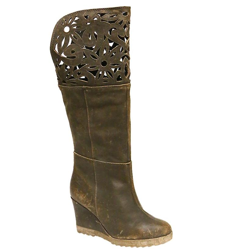 Circle G Laser Cut Brown Wedge Boots