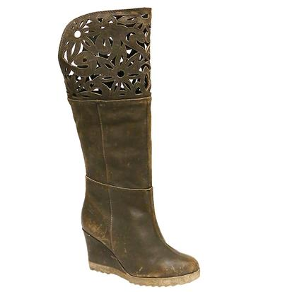 Circle G Womens Laser Cut Brown Wedge Boots