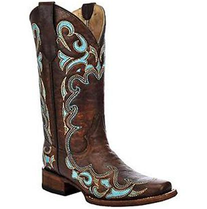 Circle G Womens Turquoise Accents Square Toe Boots