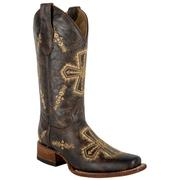Circle G Crackle Cross Square Toe Boots