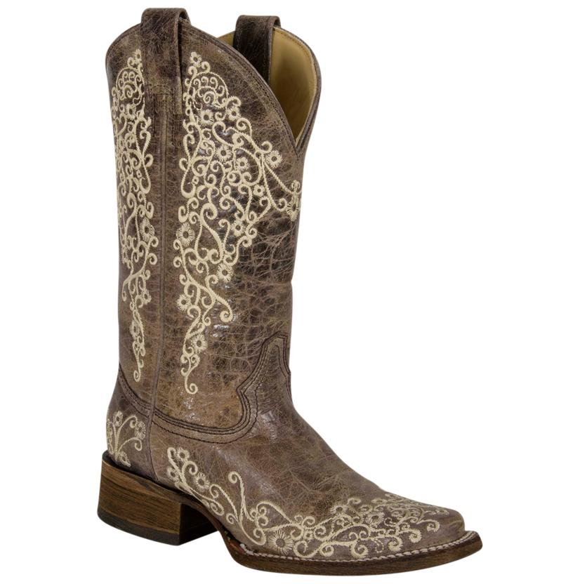 Corral Women's Crater Bone Embroidered Cowgirl Boots