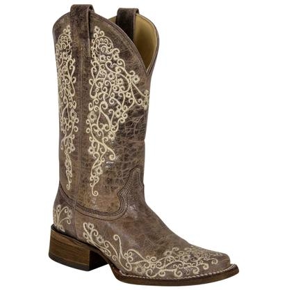 Corral Womens Crater Bone Embroidered Cowgirl Boots