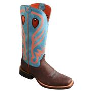 Twisted X Women's Ruff Stock Brown Pebbled / Turquoise / Neon Orange