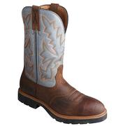 Twisted X Men's Brown & Blue Denim Leather Work Boots