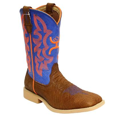 Twisted X Kid's Hooey Blue and Orange Narrow Square Toe Boots