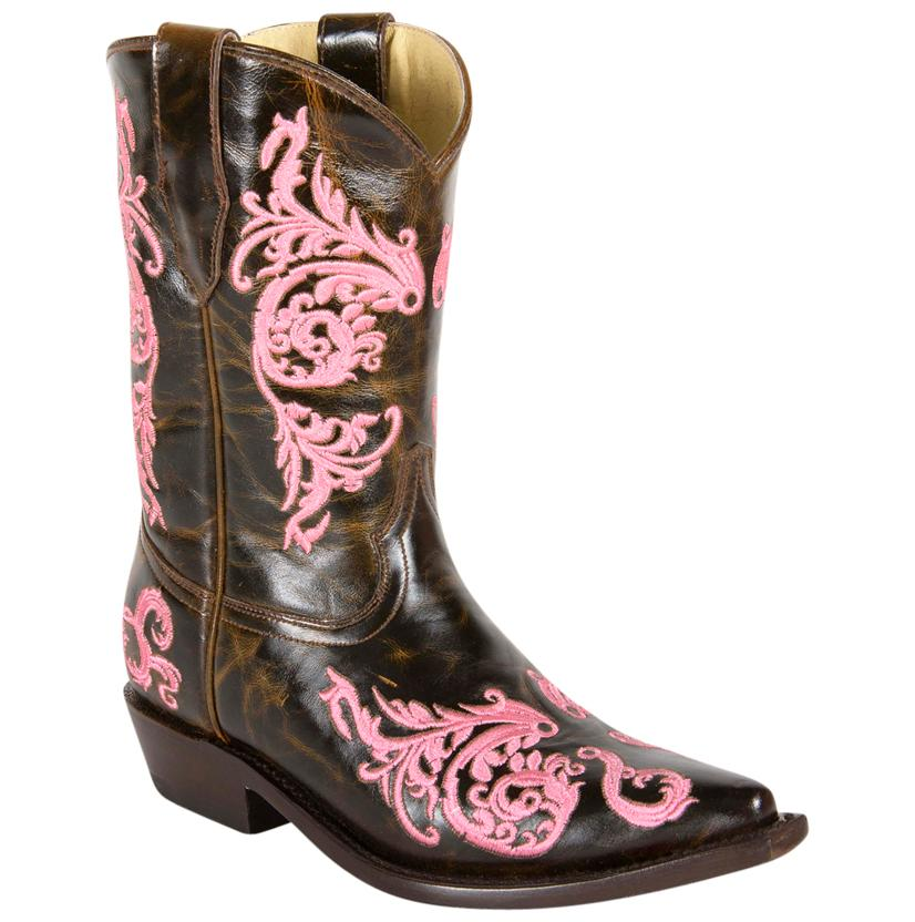 Corral Youth Girls Pink Dahlia Cognac Leather Boots