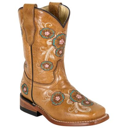 Corral Children's Saddle Multicolored Flower Boots