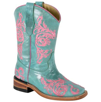 Corral Pink Turquoise Kids Western Boots