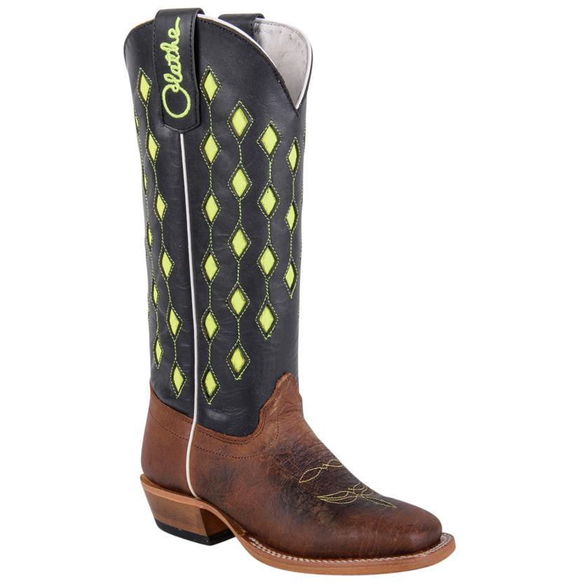 Olathe Kids ' Lime Green Diamond Top Cowboy Boot