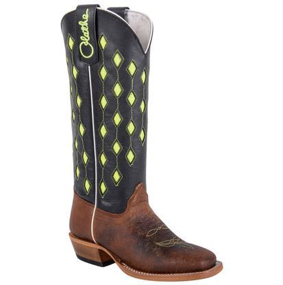 Olathe Kids' Lime Green Diamond Top Cowboy Boot