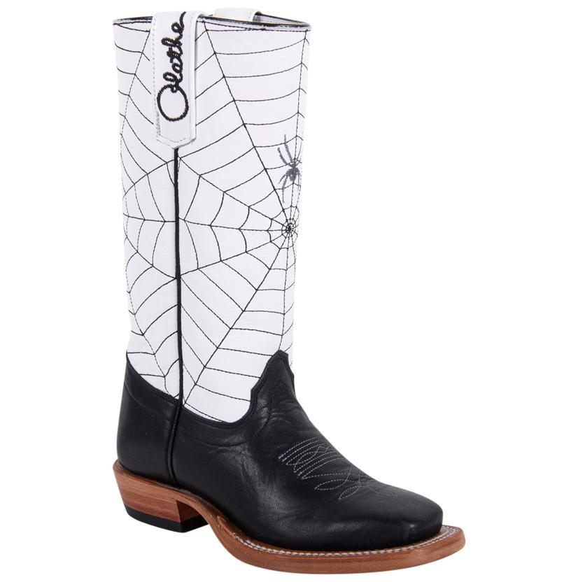 Olathe Kids ' Blk/White Spider Web Cowboy Boots