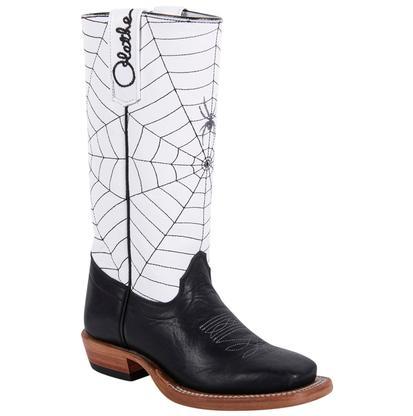 Olathe Kids' Blk/White Spider Web Cowboy Boots
