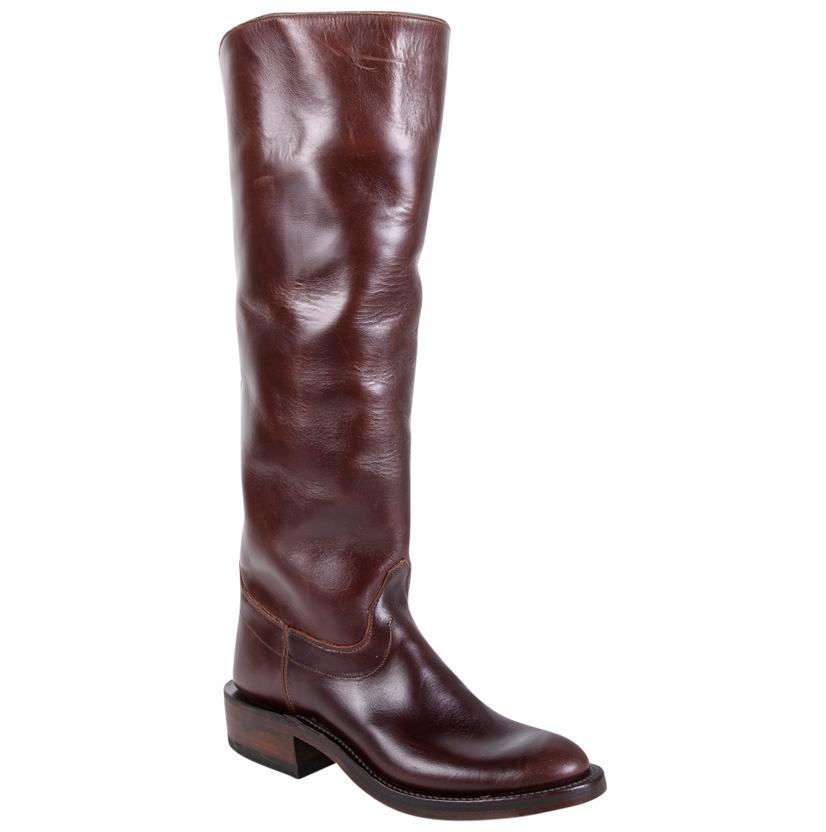 Olathe Womens Chocolate Leather Polo Boots