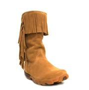 Twisted X Women's Fur-Lined Warm Suede Fringe Leather Driving Mocs Boots