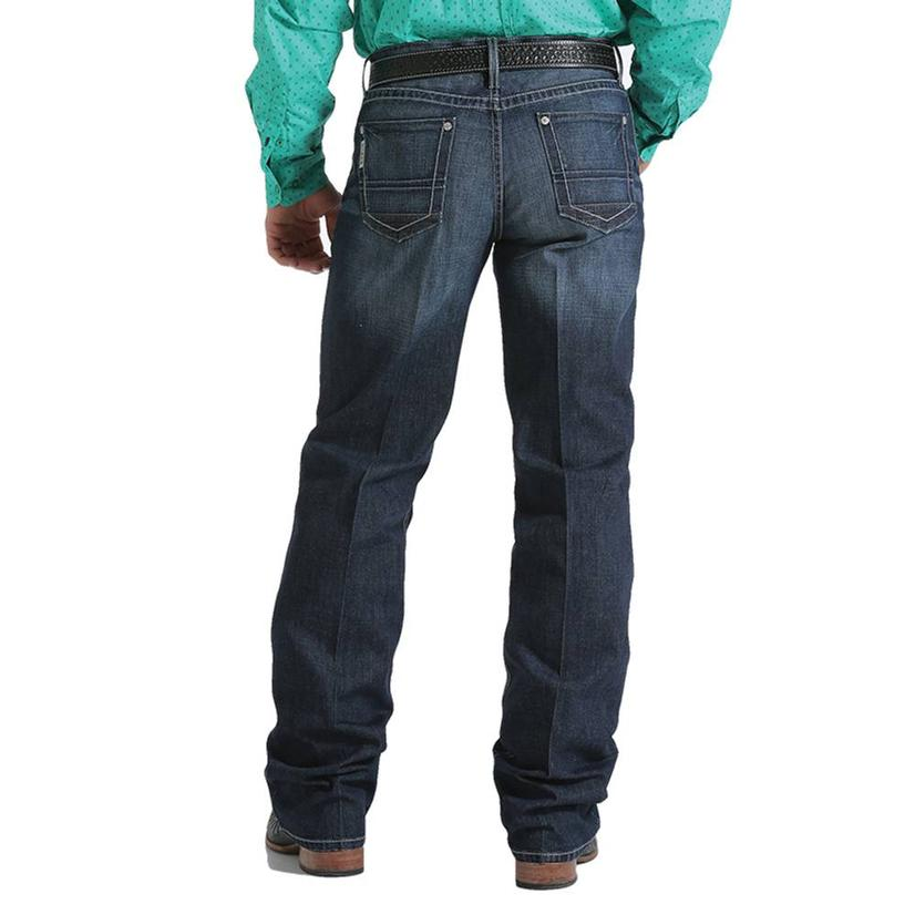 Cinch Mens Grant Mid Rise Relaxed Boot Cut Dark Wash Jeans