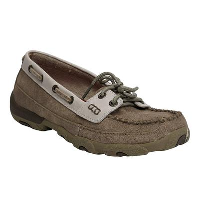 Twisted X Womens Dusty Tan & White Driving Moccasins