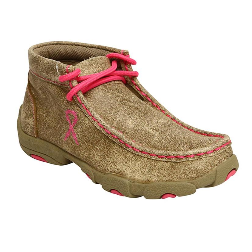 Kids ' Dusty Tan & Neon Pink Driving Moccasin