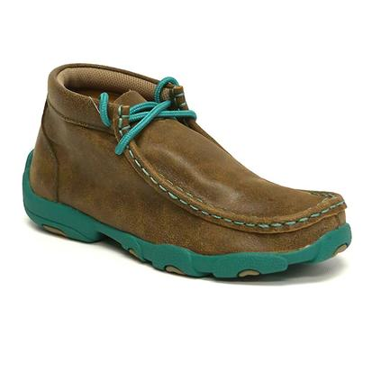 Twisted X Youth Driving Mocs Brown / Turquoise Shoes