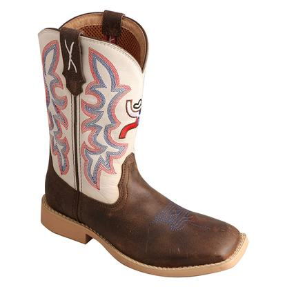 Twisted X Boots Children's  Cowkid's Hooey Toe Brown / White (Cream) Red/White/Blue