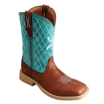 Twisted X Boots Children's Cowkid's Hooey Cowboy Boot Cognac / Turquoise