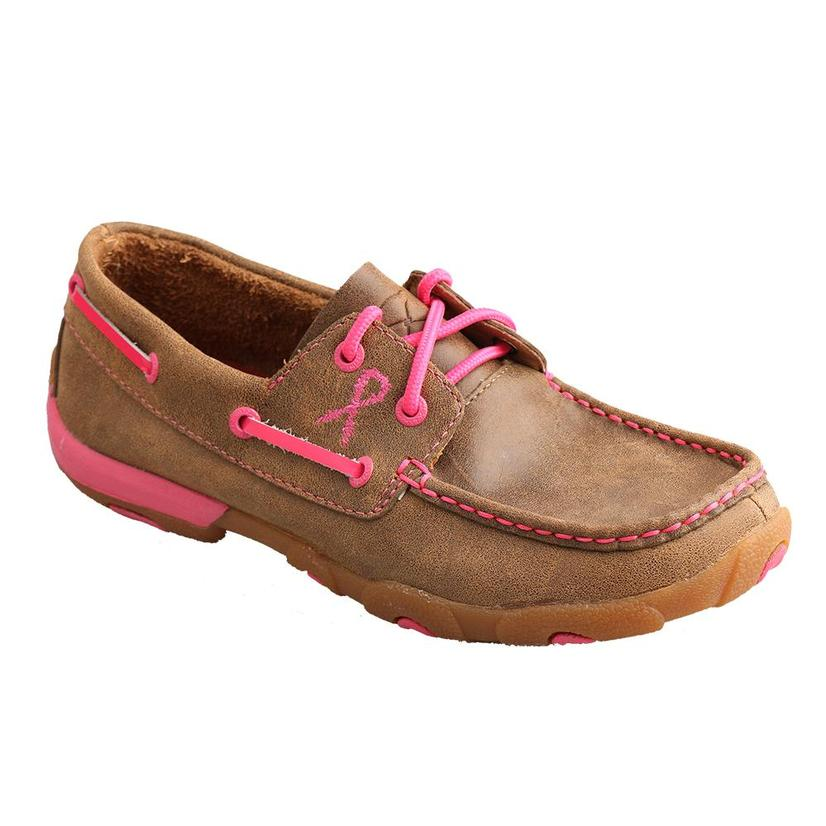 Twisted X Tough Enough to Wear Brown Leather / Pink Details Lace-Up Deck Shoe