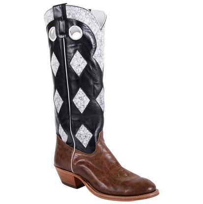 Olathe Tobacco Intimidation Black White Check Tobacco Rum Men's Boots