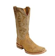 Twisted X Men's  Stonewashed Camel Bull Hide Square Toe Rancher Cowboy Boot