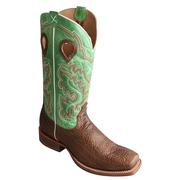 Twisted X Mens Boots Gold Buckle Boot Mint Green Teardrop Pulls