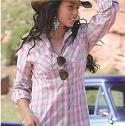 Cruel Girl Women's Western Shirt Pink Plaid