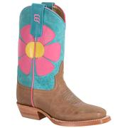 Anderson Bean Kids Tan Rough Out Pink Turquoise Boot