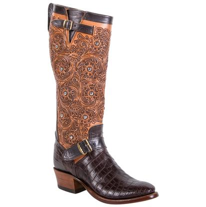 Rios of Mercedes Choc Croc Belly Tooled Brown Tall Womens Boots