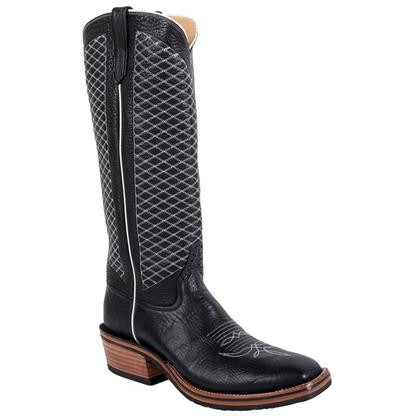 Rios of Mercedes Bulldozer Black White Crosshatch Tall Mens Boots
