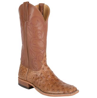Anderson Bean Mens Rum Brown FQ Ostrich Tan Fleur De Lis Shaft Mens Boots