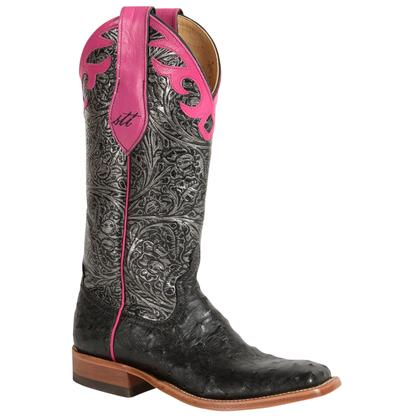 Anderson Bean Black Ostrich Silver Pink Filigree Women's Boots