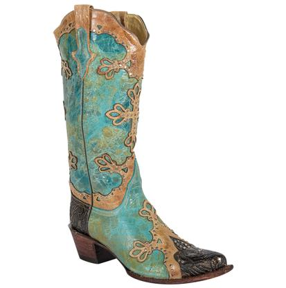 Ferrini Embossed Diva Turquoise and Gold Women's Boots