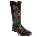 Ferrini Womens Pink Cross Caiman Boots