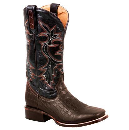 Roper Men's Dark Brown Exotic Caiman Western Boots