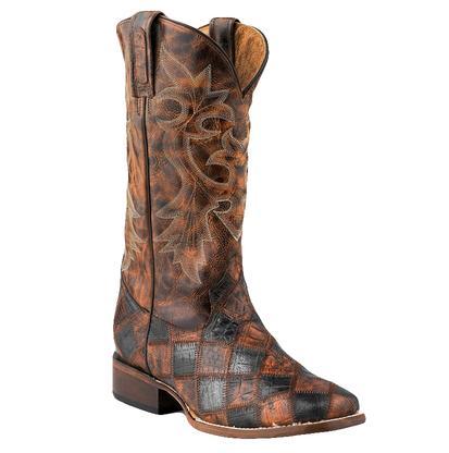 Roper Men's Faux Exotic Caiman Leather Patchwork Boots