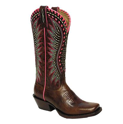 Ariat Womens Derby Crackled Cafe Neon Stitch Womens Boot